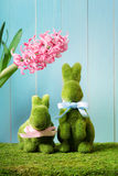 Easter bunnies with hyacinth Stock Images