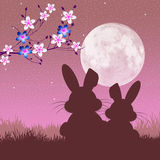 Easter bunnies. Illustration of Easter bunnies silhouette Royalty Free Stock Photo