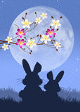 Easter bunnies. Illustration of Easter bunnies silhouette Royalty Free Stock Image