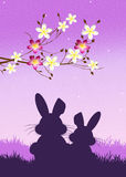 Easter bunnies. Illustration of Easter bunnies silhouette Stock Photography