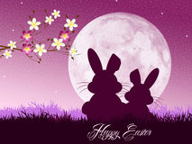 Easter bunnies. Illustration of Easter bunnies silhouette Stock Images