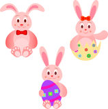 Easter Bunnies Illustrations with Easter Eggs Royalty Free Stock Image