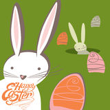 Easter bunnies look out for burrows Easter eggs. Lovely Easter bunnies look out for burrows Easter eggs. Funny greeting card royalty free illustration