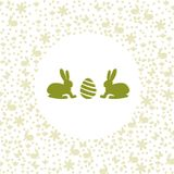 Easter bunnies looking at egg silhouettes. Easter bunnies looking at an egg. Simple and clean silhouette shapes. Clean design Royalty Free Stock Photos