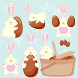 Easter bunnies love easter eggs! Stock Image
