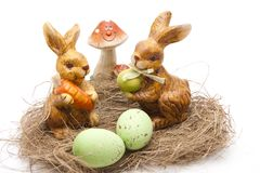 Easter bunnies with mushroom Stock Image