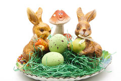 Easter bunnies with mushroom Stock Photography