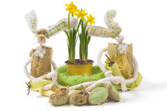 Easter bunnies with narcissus Royalty Free Stock Photo