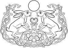 Easter bunnies pair and eggs Celtic ornaments. Vector illustration of Easter bunnies pair and eggs in Celtic ornaments black and white. The fertility symbol of stock illustration