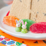 Easter Bunnies on the Plate with Curd Pashka Royalty Free Stock Photography