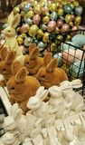 Easter bunnies. Rabbit and egg display for Easter  sale Royalty Free Stock Photography