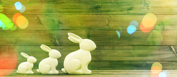 Easter bunnies. Retro style picture with light leaks Stock Photography
