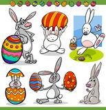 Easter bunnies set cartoon illustration Royalty Free Stock Photo