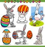 Easter bunnies set cartoon illustration Royalty Free Stock Photo