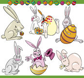 Easter bunnies set cartoon illustration Royalty Free Stock Photos