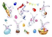 Easter bunnies set. Watercolor illustration on white background. Set with cartoon bannies, eggs, carrots, candy and flag hand dr. Awing vector illustration