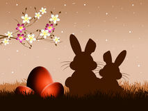 Easter bunnies silhouette. Illustration of Easter bunnies silhouette Royalty Free Stock Image