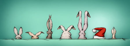Easter bunnies with surprise guest Stock Photos