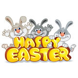 Easter Bunnies with Text Happy Easter Vector. Funny Easter Bunnies with Text Happy Easter. Frohe Ostern. Vector Label Stock Images
