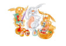 Easter bunnies to color the eggs Easter bunnies Royalty Free Stock Photos