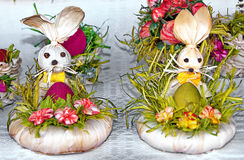 Easter Bunnies. Traditional handmade easter bunnies with eggs Royalty Free Stock Images