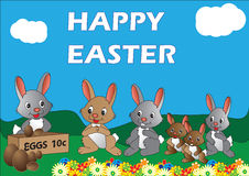 Easter Bunnies. Vector illustration of rabbits waiting in line to buy Easter eggs Royalty Free Stock Photo