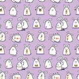 Easter bunnies. Vector seamless doodle easter pattern with Easter bunnies for wallpaper, web page background, surface textures, textile, fabrics, wrapping papers vector illustration