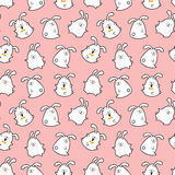 Easter bunnies. Vector seamless doodle easter pattern with Easter bunnies for wallpaper, web page background, surface textures, textile, fabrics, wrapping papers stock illustration