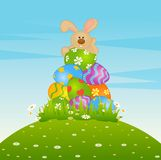 Easter Bunnies With Colored Eggs Royalty Free Stock Image
