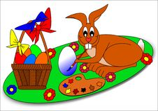 Easter bunny. Easter eggs color flower painter basket Stock Photos