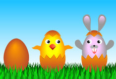 Easter bunny. And chicken eggs Royalty Free Stock Image