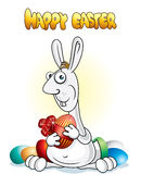 Easter bunny. Bizarre easter rabbit with luxury egg (vector available royalty free illustration