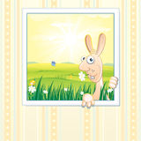 Easter bunny. Easter picture with pink rabbit - vector stock illustration