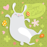 Easter bunny. Happy Easter bunny on green spring background Stock Image