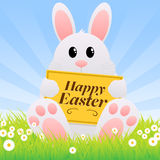 Easter Bunny. An illustration of a cute bunny with an Easter message. Clipping masks used and blue background placed on separate layer vector illustration