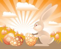 Easter Bunny. With painted eggs ready for Easter Holiday Stock Image
