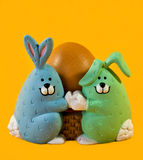Easter begg bunnies Royalty Free Stock Photo