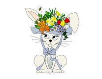 Easter Bunny. An illustration of a rabbit wearing a flowery Easter hat Stock Image