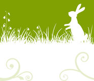 Easter bunny. Easter green background, bunny or rabbit sitting in the meadow, vector illustration royalty free illustration