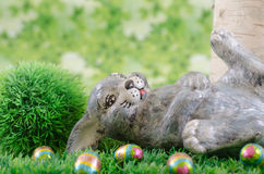 Easter bunny. The Easter bunny had too many chocolate eggs Royalty Free Stock Image