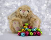 Easter Bunny. Fluffy Easter bunny with brightly coloured eggs and diffused sparkle background Royalty Free Stock Photos