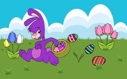 Easter Bunny. Running with a basket of decorated Easter eggs Royalty Free Stock Photos