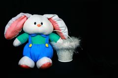 Easter Bunny. With basket on black background Stock Photos