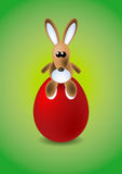 Easter bunny. Sitting on red egg Royalty Free Stock Photography