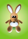 Easter bunny. Sitting on green background stock illustration