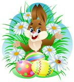 Easter bunny. With colorful eggs in grass