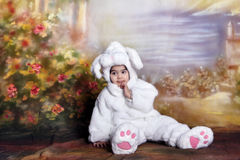 Easter bunny. A two year old girl dressed as a bunny for easter Stock Photo