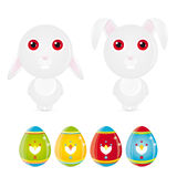 Easter Bunny. Vector illustration of a easter bunny and easter eggs Stock Illustration
