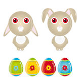 Easter Bunny. Vector illustration of a easter bunny and easter eggs Royalty Free Illustration