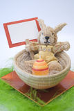 Easter bunny. Easter concept Colorful bunny in a basket stock images
